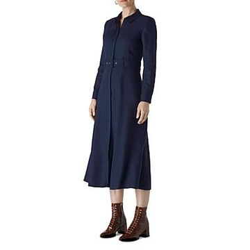 Whistles Belted Mid-Calf Shirt Dress