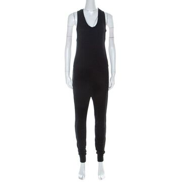 T by Alexander Wang Black French Terry Racerback Sleeveless Jumpsuit XS