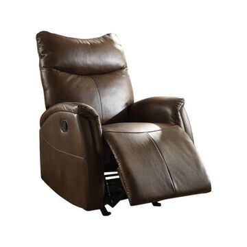 ACME Furniture Riso Leather-Aire Rocker Recliner in Brown