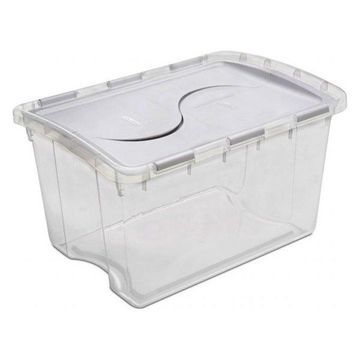 Sterilite 48 Quart Clear Hinged Lid Storage Box 19148006, Pack of 6