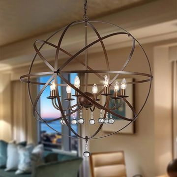 Jossie 8-light Crystal 30-inch Bronze-finish Chandelier