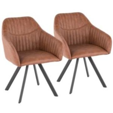 Lumisource Clubhouse Pleated Chair in Faux Leather Set of 2