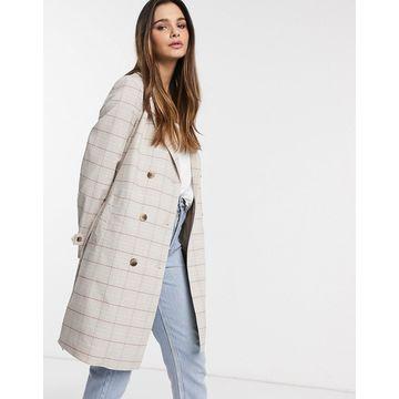 Vila trench coat in cream check-White