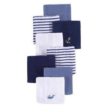 Luvable Friends Boys' Baby Washcloths Anchor - White & Navy Anchor Washcloth Set