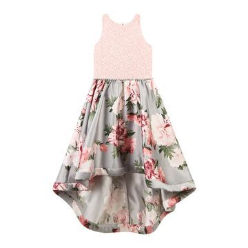 Girls Speechless Lace to Floral High-Low Dress