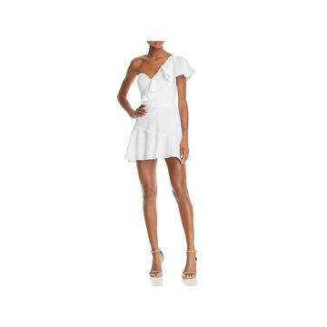 Amanda Uprichard Womens Mini Dress One Shoulder Ruffled
