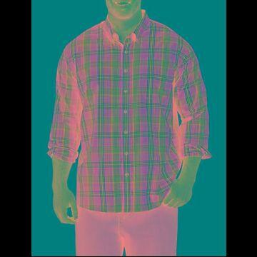 Big & Tall Harbor Bay Easy-Care Plaid Sport Shirt - True Navy