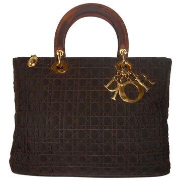 Vintage Dior Lady Dior Brown Cloth Handbag