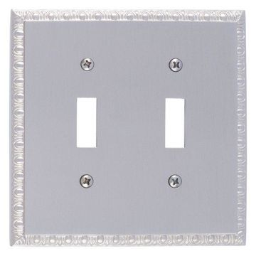 Egg and Dart Double Switch, Satin Nickel