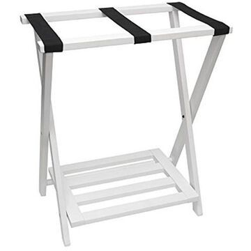 Lipper International Right Height Folding Luggage Rack with Bottom Shelf White Finish - 502W