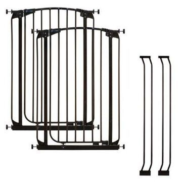 Dreambaby Chelsea Tall Auto Close Stay Open Security Gate in Black (Set of 2)