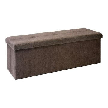 Simplify Faux Linen Triple Folding Storage Ottoman