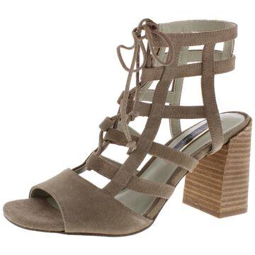 Kensie Womens Shawna Suede Caged Block Heels