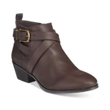 Style & Co. Womens Harperr Leather Almond Toe Ankle Fashion Boots