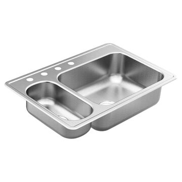 Moen 2200 Drop-In 33-in x 22-in Stainless (Sl) Double Offset Bowl 4-Hole Kitchen Sink   GS202864Q