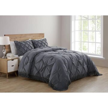 Aria Tassel Soft Wash Pintuck Comforter Set Gray - VCNY Home