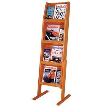 LD49-12FSMO 4 x 3 in. Slope 12 Pocket Standing Literature Display - Medium Oak