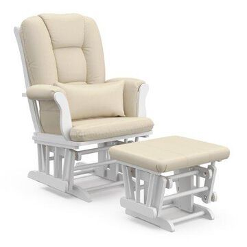 Storkcraft Tuscany Storage Glider and Ottoman, White Finish with Beige Cushions