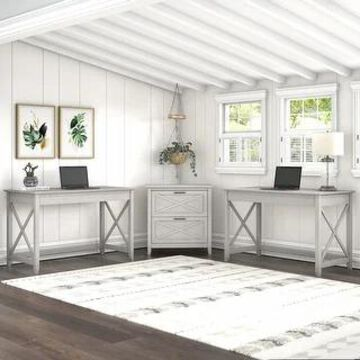Key West 2 Person Desk Set with Lateral File Cabinet by Bush Furniture (Linen White Oak)