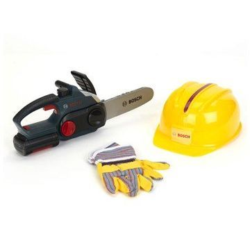 Theo Klein Bosch Chainsaw with Safety Helmet & Gloves