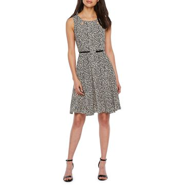 Danny & Nicole Sleeveless Cheetah Fit & Flare Dress