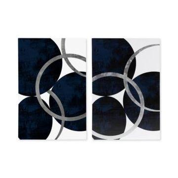 Ink+Ivy Celestial Orbit Navy 2-Pc. Gel-Coated & Silver-Tone Foil Canvas Print Set