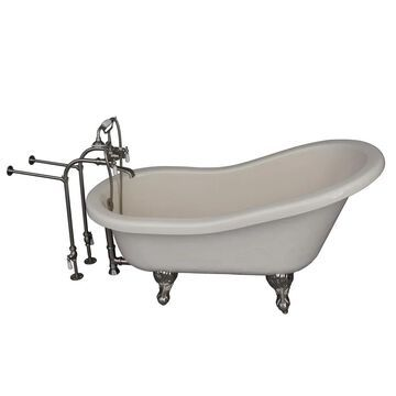 Barclay 30-in W x 60-in L Bisque Acrylic Oval Back Center Drain Clawfoot Soaking Bathtub and Faucet Included in Off-White   TKATS60-BBN1