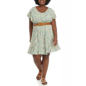 Wallflower Women's Plus Size Flutter Sleeve Dress - -
