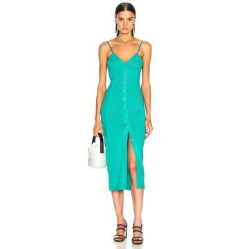 fleur du mal Center Front Snap Jersey Dress in Monaco Green | FWRD