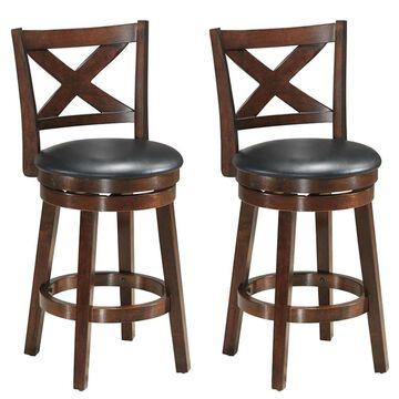 Goplus Costway Set of 2 Brown Bar height (27-in to 35-in) Upholstered Swivel Bar Stool | 2HW58969