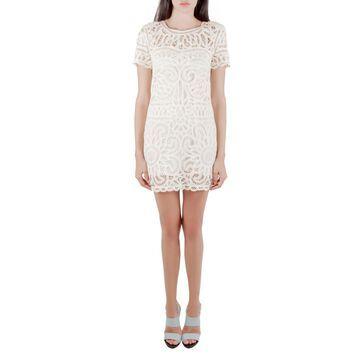 Sea Cream Battenburg Lace Shift Dress XS