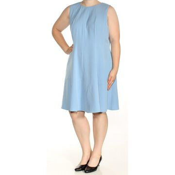 ANNE KLEIN Womens Blue Sleeveless Jewel Neck Knee Length Fit + Flare Dress Plus Size: 18W