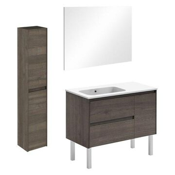 Ambra 90F Complete Vanity Unit With Column and Mirror, Samara Ash