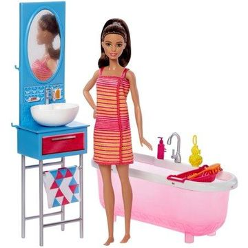 Barbie Doll & Furniture Bathroom Set with Accessories