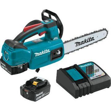 Makita 18V LXT Lithium-Ion Brushless Cordless 10 in. Top Handle Chain Saw Kit, XCU06T