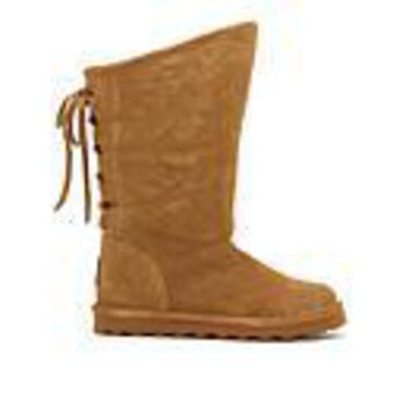 BEARPAW Phylly Suede Laced-Back Boot with NeverWet - Wide - Brown