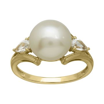 Certified Sofia 10MM Cultured Freshwater Pearl 10K Gold Ring
