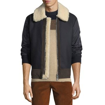 Men's Plovan Shearling-Trim Bomber Jacket