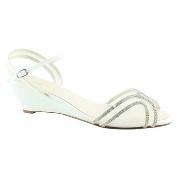 Caparros Womens Hilton Ivory Sateen Ankle Strap Heels Size 11
