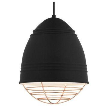 Loft Rubber Black Pendant, E26 LED A19 11W 2700K 120V, Copper