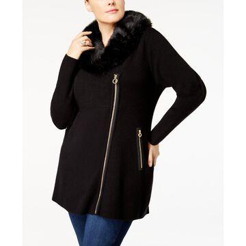 Plus Size Faux-Fur-Trim Cardigan