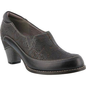 L'Artiste by Spring Step Women's Liboreel Heeled Slip-On Black Leather