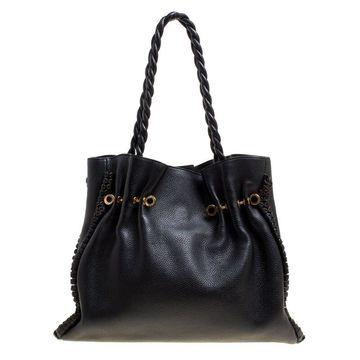Bvlgari Black Leather Twistino Tina Shopper Tote