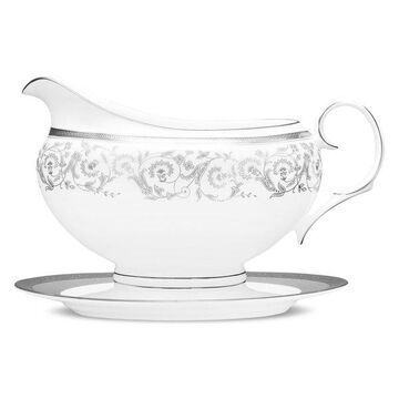 Noritake Summit Platinum Gravyboat and Stand