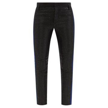 Haider Ackermann - Erysium Satin And Leather Slim-leg Trousers - Womens - Black