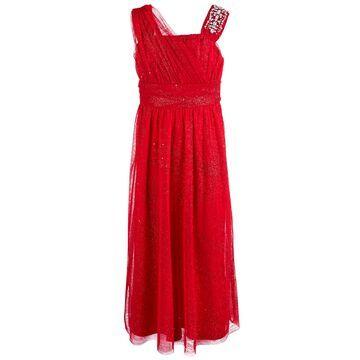 Big Girls Rhinestone Trim One Shoulder Glitter Dress