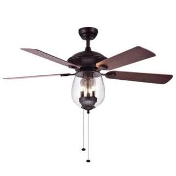 Warehouse of Tiffany Tibwald Wood Glass 52-inch 5-blade Lighted Ceiling Fan (Optional Remote) - Brown (Nautical & Coastal - Pull Chain - Incandescent)