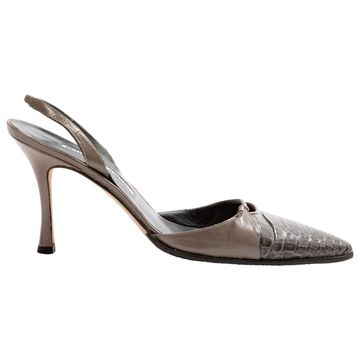 Manolo Blahnik Grey Leather Heels