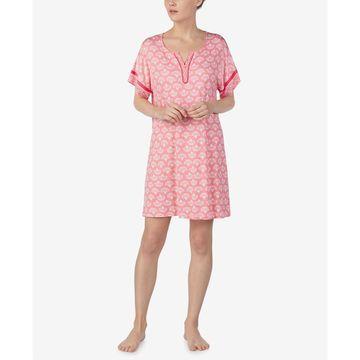 Printed Split-Neck Nightgown