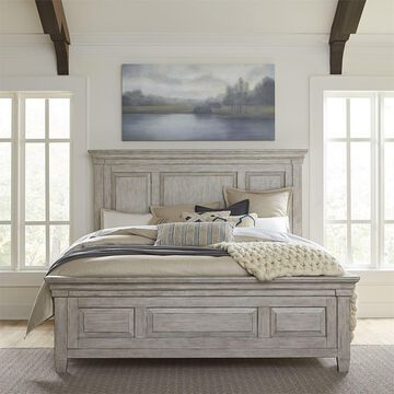 Liberty Heartland Antique White Wood Queen Panel Bed